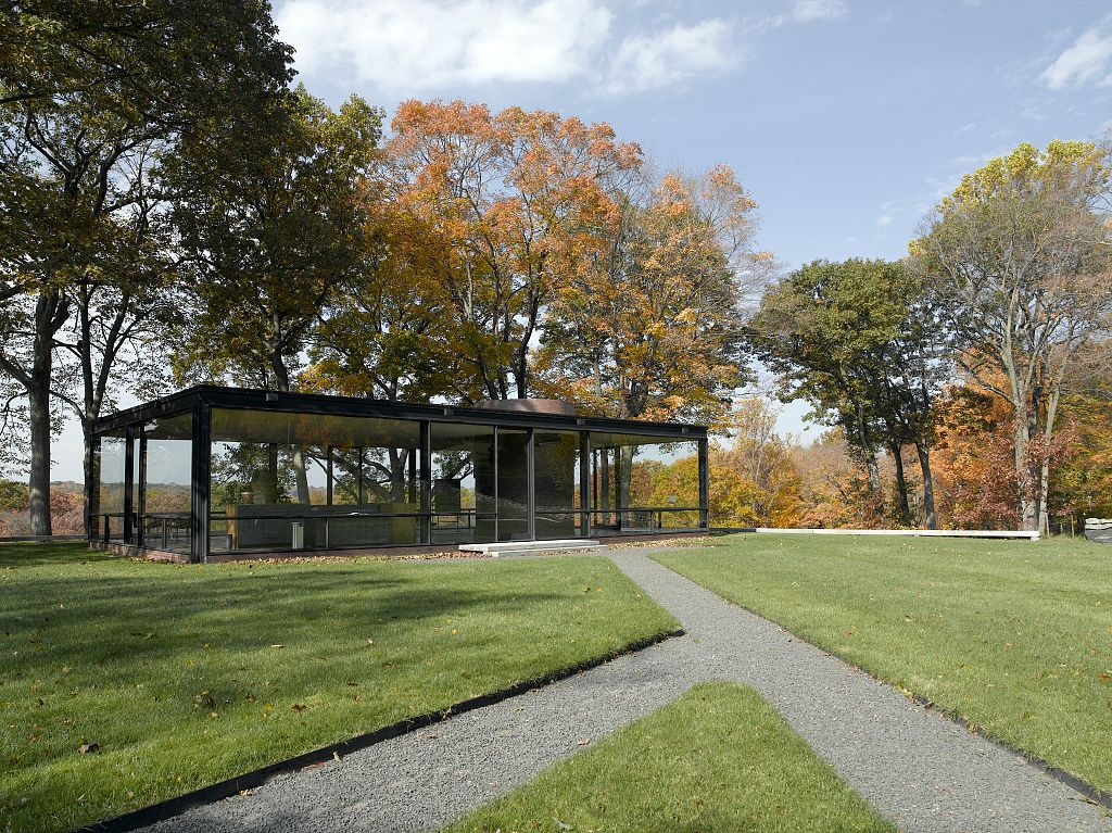 Glass House, automne de jour, New Canaan, Connecticut, Etats-Unis, 1949 - Architecte Philip Johnson - Photo Highsmith, Carol M., 1946 - Library of Congress Prints and Photographs Division Washington