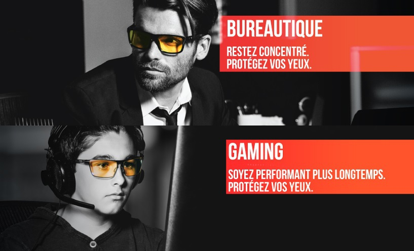 Lunettes anti lumière bleue - gammes bureautique et gaming- Image : Gunnar