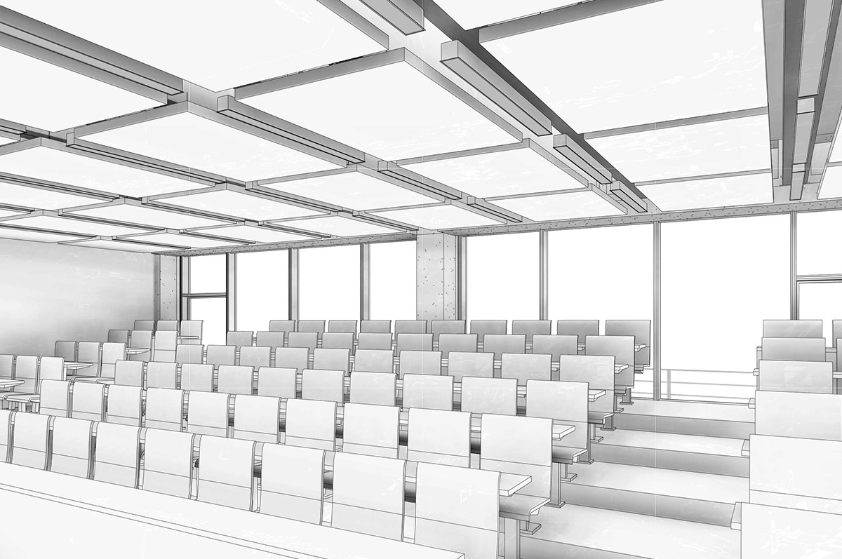 ENS Cachan, Paris-Saclay, France - Architecte : RPBW - vue en perspective 3D, salle de cours 2 © Renzo Piano Building Workshop - Cosil Peutz Lighting Design