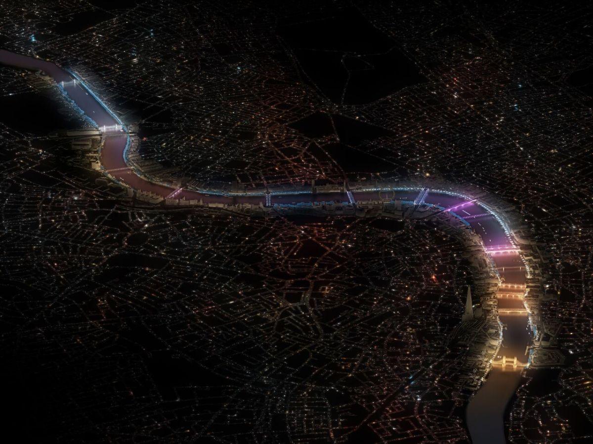 Vue d'ensemble des ponts de Londres, UK © MRC, Leo Villareal et Lifschutz Davidson Sandilands