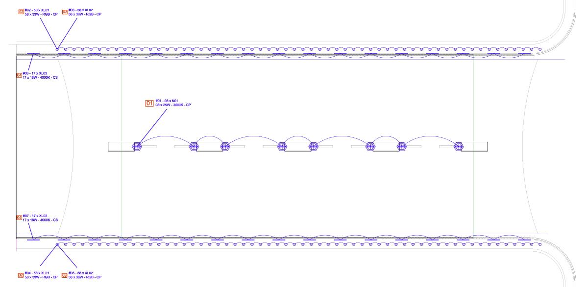 Plan d'implantation éclairage DCE - Tunnel Renan, parc des expositions de la porte de Versailles, Paris, France - Conception lumière et dessin : Seulsoleil