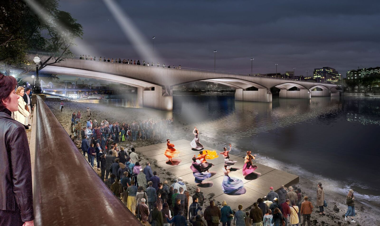 Performance à marée basse - Waterloo Bridge, London, UK © MRC and Diller Scofidio + Renfro