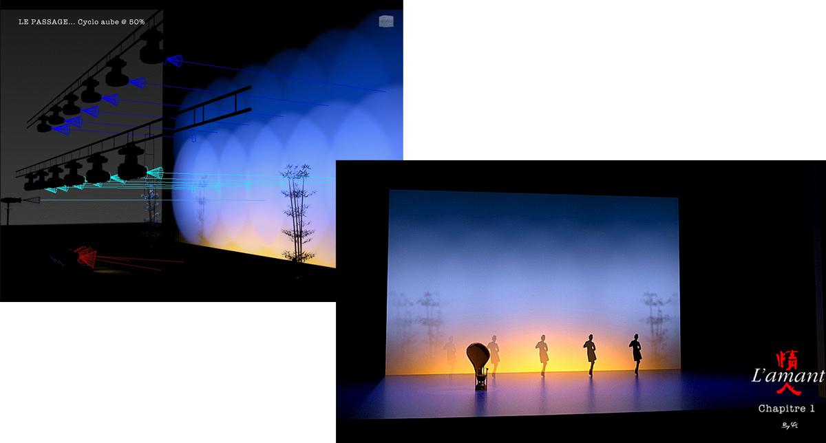 Projet d'éclairage scénique sur 3ds Max - simulation lumière 3D