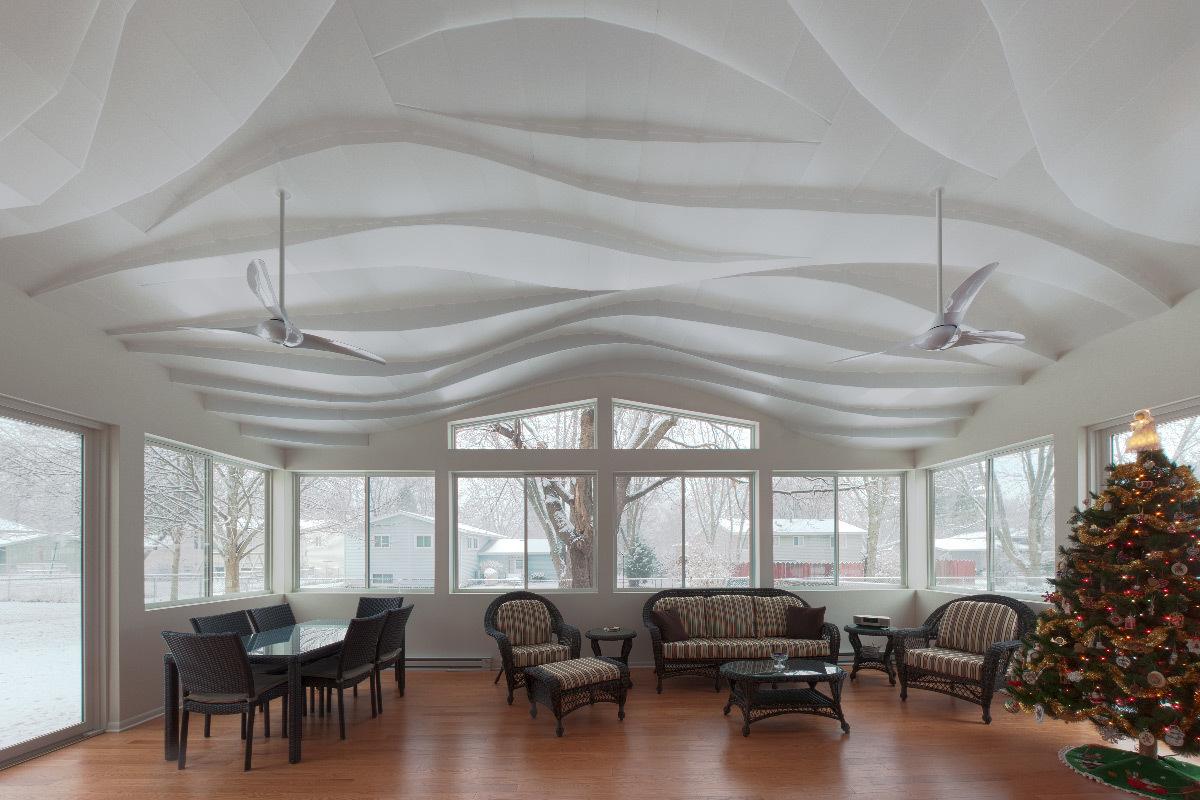 Vue à l'est, la soirée d'hiver - Maison privée, Crystal Lake, Etats-Unis - Flynn Architecture et Design © Matt Flynn