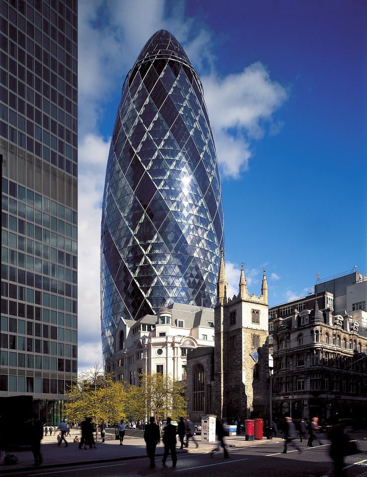 Swiss-RE de Londres, architecture de Foster + Partners