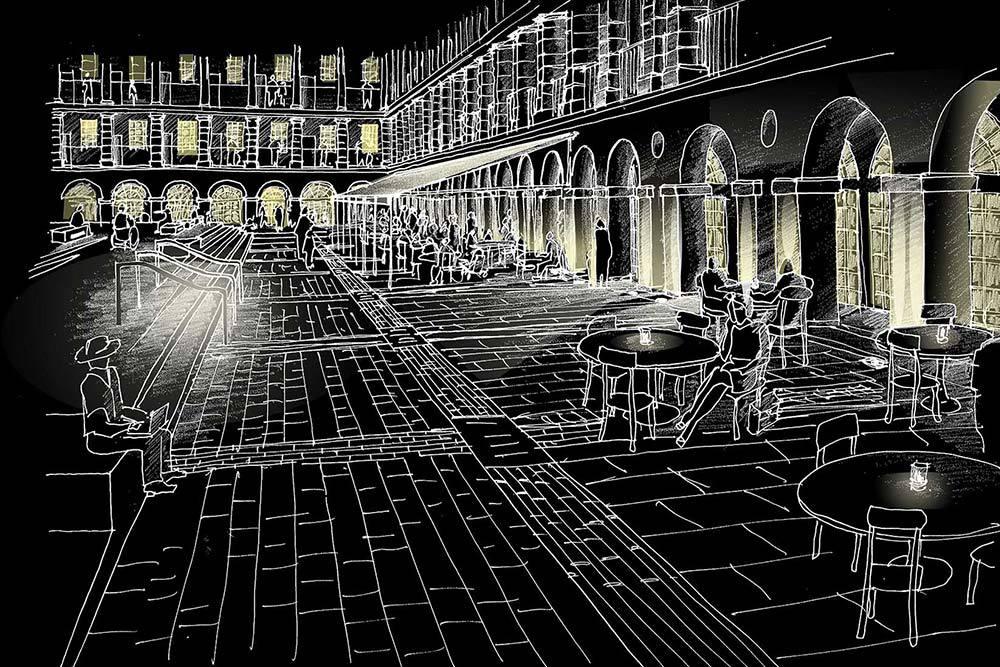 Projet lumière en perspectives - Piece hall, Halifax, Grande Bretagne
