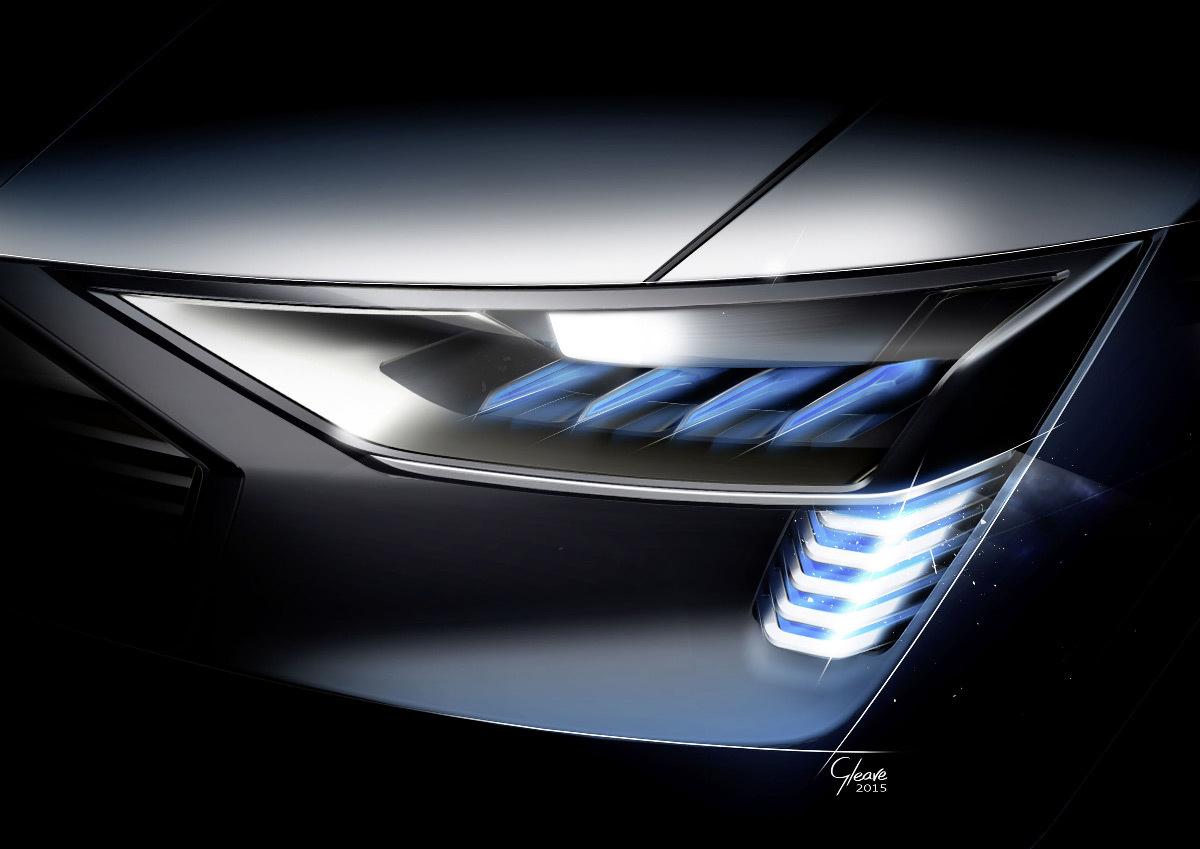 Dessin du concept de phare e-tron quattro pou voiture, faisceau matriciel, technologie OLED