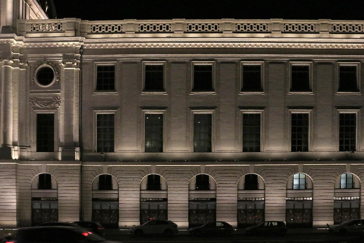 Grand Hôtel-Dieu, mise en lumière, aile latérale de la façade, quai Courmont, Lyon, France