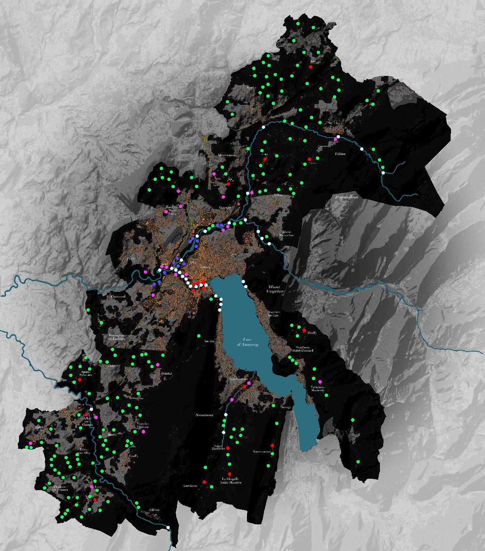 Carte des conflits nature et usages urbains nocturnes - Bureaux d'études éclairage : Berest et Jean-Baptiste Guerlesquin © Grand Annecy - Syane