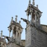 Cathédrale Notre-Dame de Paris, chapiteaux et gargouilles sans toiture, vue extérieure - Septembre 2019 © Vincent Laganier