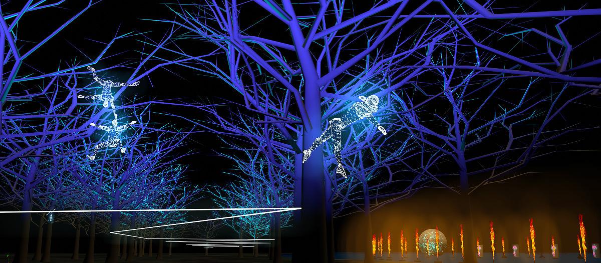 Regarde, simulation 2019, Parc de la Tête d'Or, Lyon © Groupe F - Fête des Lumières 2019 - Ville de Lyon