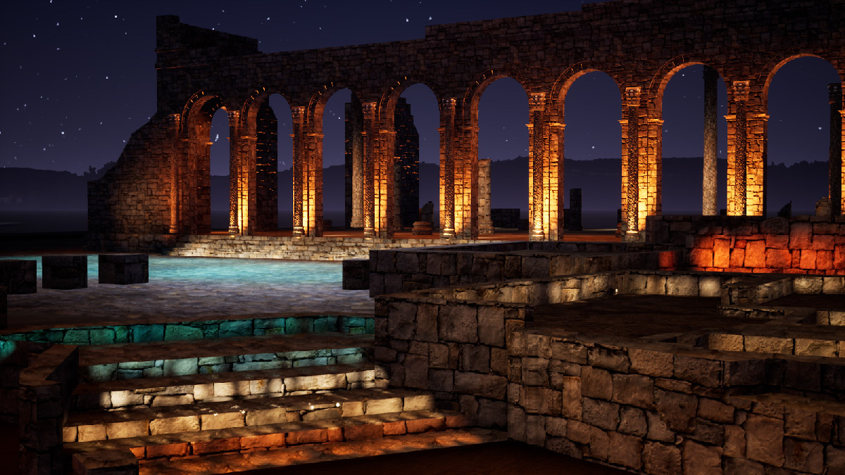 Simulation lumière, accès a la basilique, Volubilis, Maroc - Tifawine Light Contest, Illuminate, équipe 6 © Boutkida Hanane et Yazid Ben Chikh