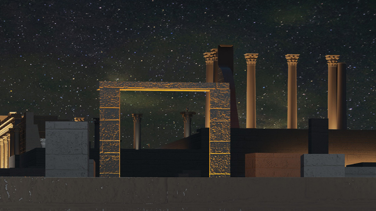 Simulation lumière, cadre de vue sur les colonnes de la basilique, Volubilis, Maroc - Tifawine Light Contest, Illuminate, équipe 14 © Mahmoud Ramdane et Soukaina Kssili.jpg