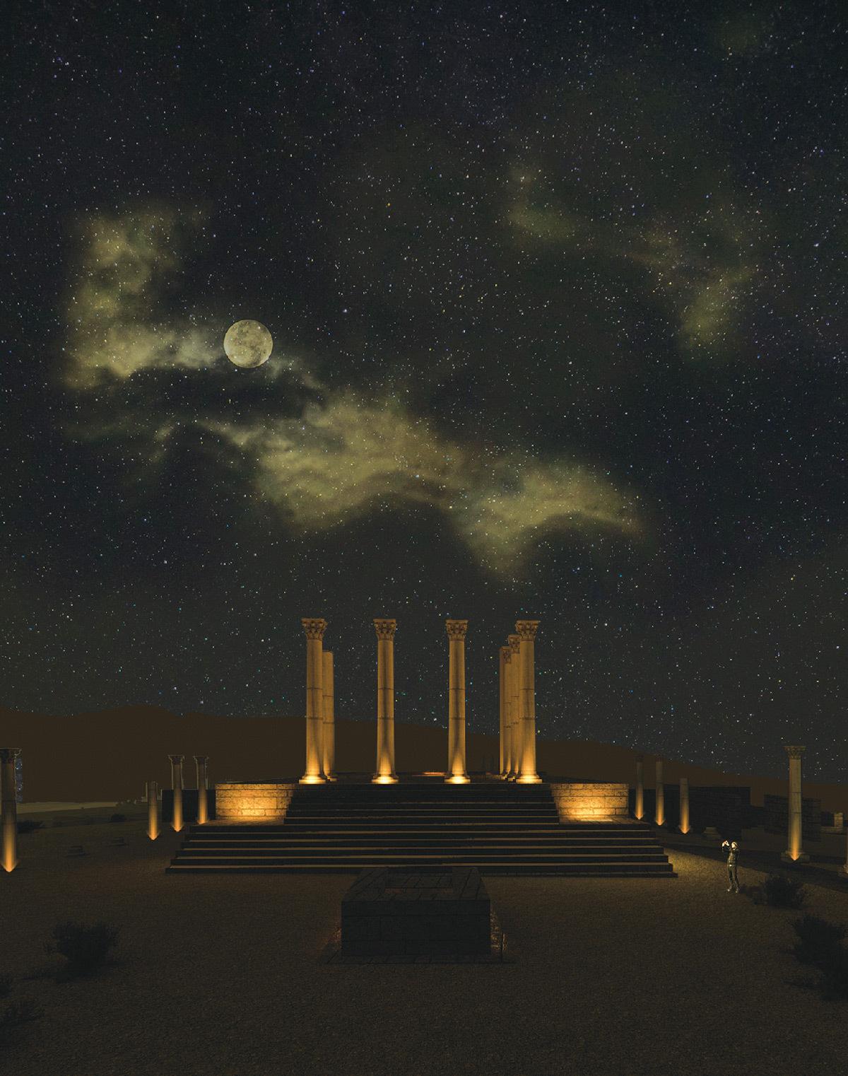 Simulation lumière, capitole, Volubilis, Maroc - Tifawine Light Contest, Illuminate, équipe 14 © Mahmoud Ramdane et Soukaina Kssili