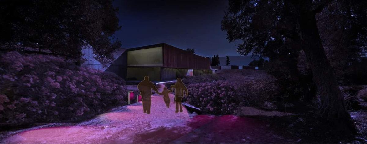 Simulation lumière, chemin d'accès, Volubilis, Maroc - Tifawine Light Contest, Illuminate, équipe 8 © Bassiouni Wafa et Machhour Btissam
