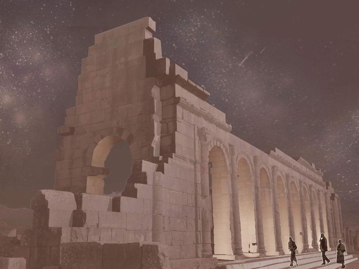 Simulation lumière, façade sud de la basilique, Volubilis, Maroc - Tifawine Light Contest, Illuminate, équipe 8 © Bassiouni Wafa et Machhour Btissam