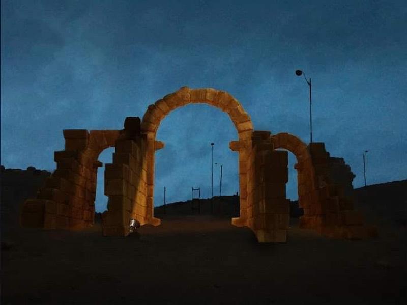 Simulation lumière, porte de Tanger, Volubilis, Maroc - Tifawine Light Contest, Illuminate, équipe 11 © Mehdi Chawki et Naoual Basma Koudia