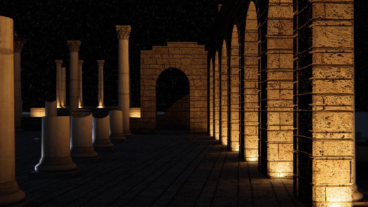 Simulation lumière, vue intérieur de la basilique, Volubilis, Maroc - Tifawine Light Contest, Illuminate, équipe 14 © Mahmoud Ramdane et Soukaina Kssili