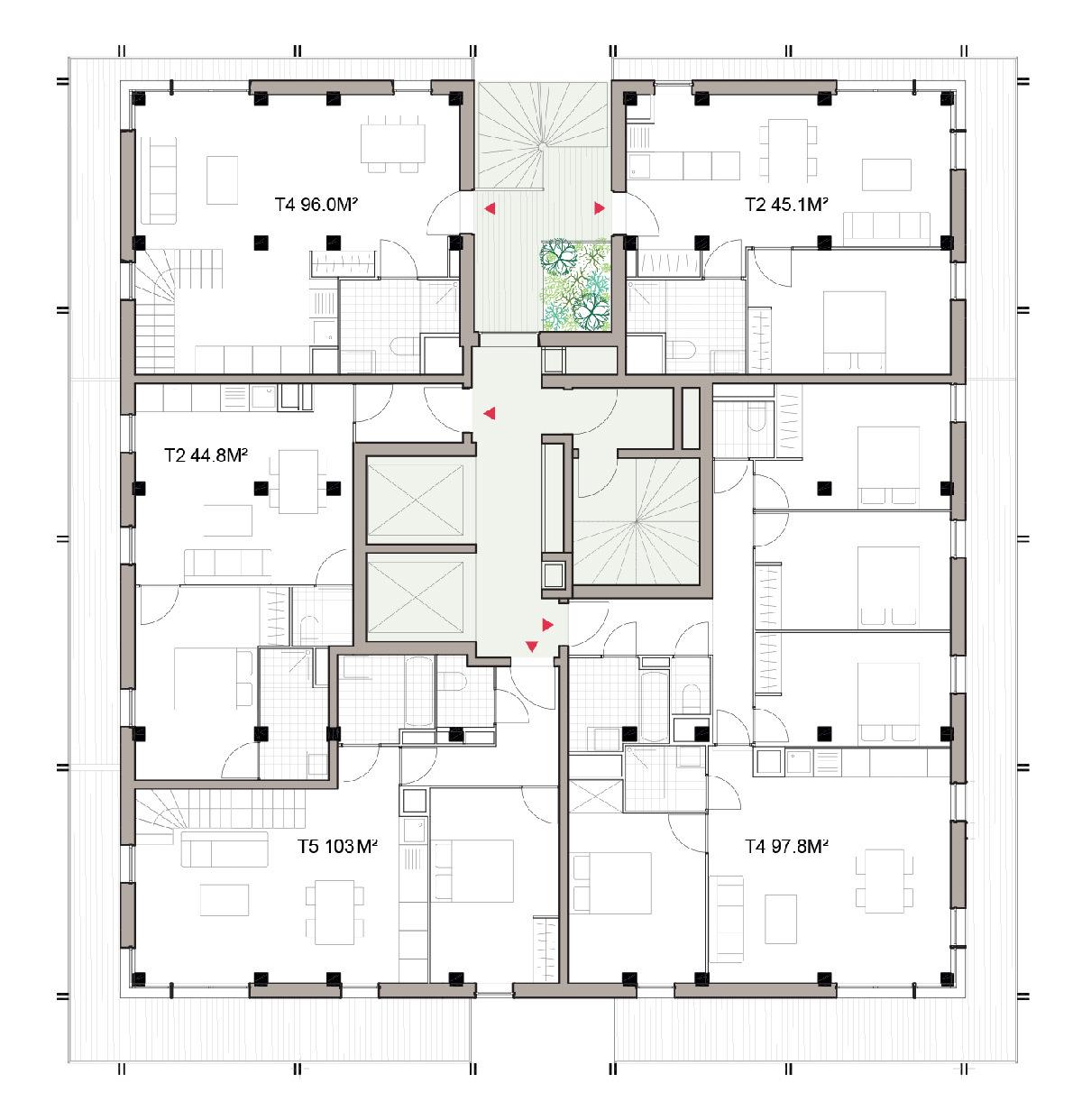 Lot E2-B, plan étage, village des athlètes, Lot E, Jeux de Paris 2024