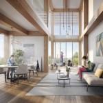 Perspective intérieure 3D, village des athlètes, Lot E, Jeux de Paris 2024