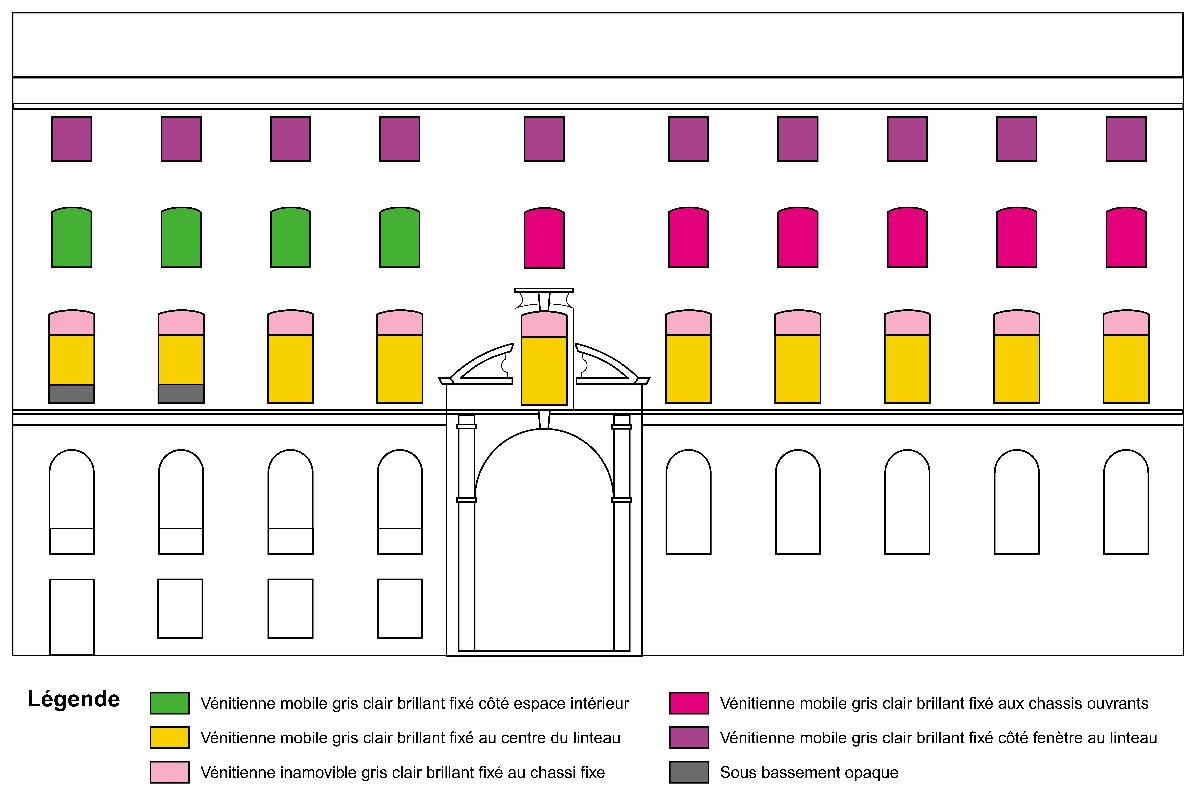 Type de stores vénitiens en élévation, Collège-Lycée Ampère, Lyon, France - Eclairagistes Duilio Passariello et Vincent Laganier - Festival Lyon Lumières 2000 © Philips Eclairage