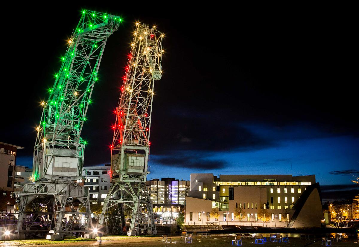 "Grues Malraux, Strasbourg, France - ""Lumières"" - Eclairage interactif de balisage © Elyxandro Cegarra - Eurometropole"