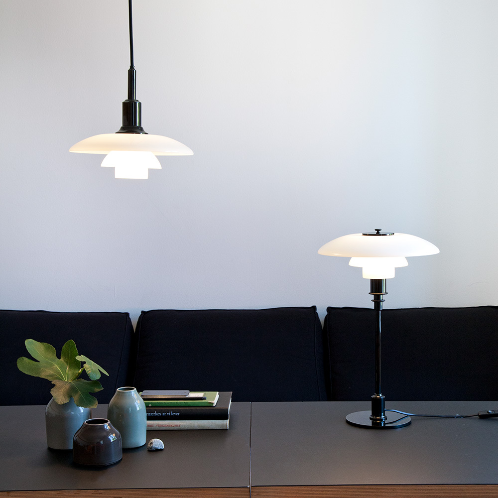 Suspension et lampe de table PH 3-2, Ortchrom, Bornholm, Danemark - - Designer : Poul Henningsen