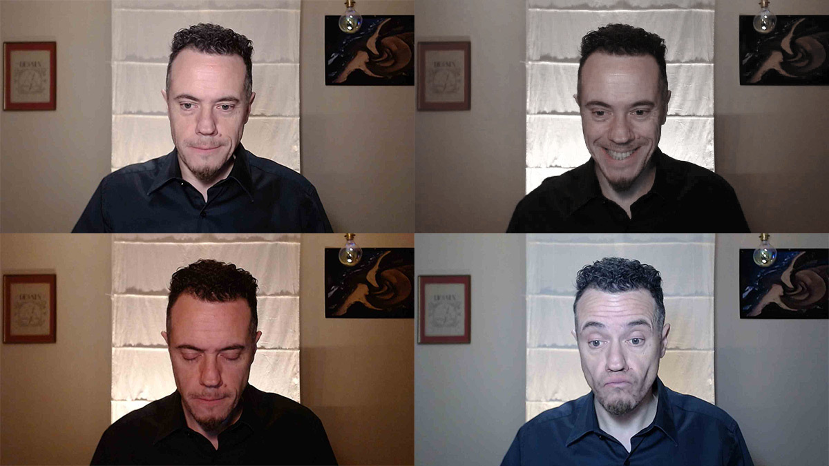 Webinaire, éclairage et température de couleur sur le visage devant une webcam