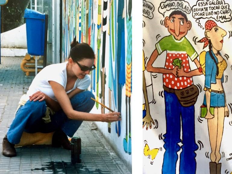 #paracegover A imagem mostra, na foto da esquerda, uma mulher abaixada, de camiseta branca, calça jeans e óculos de sol, pintando o muro. Na foto da direita, alguns personagens em detalhe.