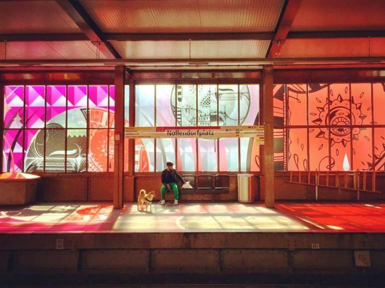 #paracegover Descrição para deficientes visuais: a imagem mostra a estação de metrô Nollendorfplatz cujos vidros foram todos decorados com adesivos transparentes decorados, como uma extensão do projeto do museu de street art, Urban Nation. A luz do sol reflete os desenhos nas cores rosa e laranja. Um homem espera o trem com seu cachorro. — at U-Bahn-Nollendorfplatz.