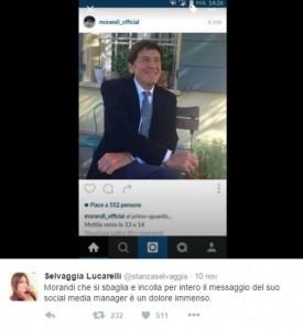 Gianni Morandi e la gaffe su Twitter