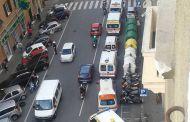 Marassi - Ambulanze in corteo per protesta contro chiusura Pubblica Assistenza