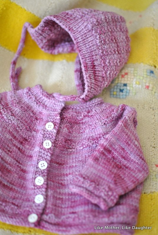 Sweater and cap set for a newborn girl. Like Mother Like Daughter