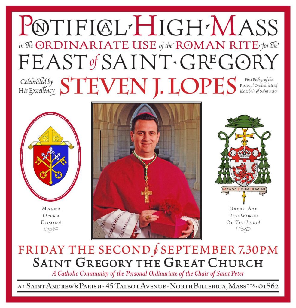 Mass for the Feast of St. Gregory ~ Ordinariate