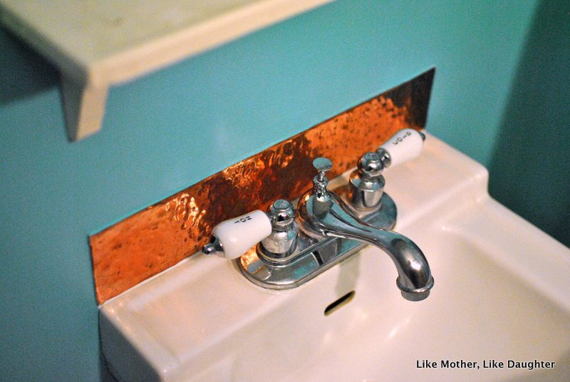 Beautiful A copper backsplash for a little lavatory Like Mother Like Daughter