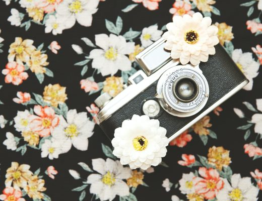Vintage camera on a floral background