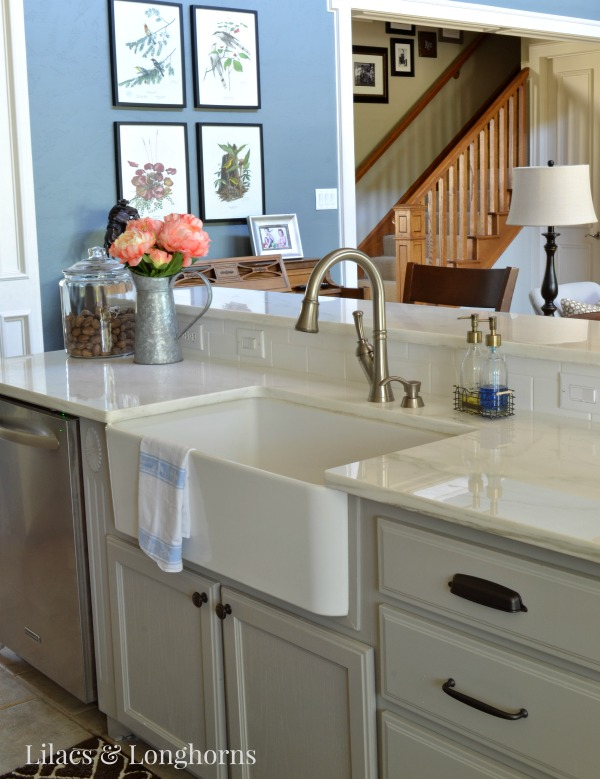 marble counters and farm sink
