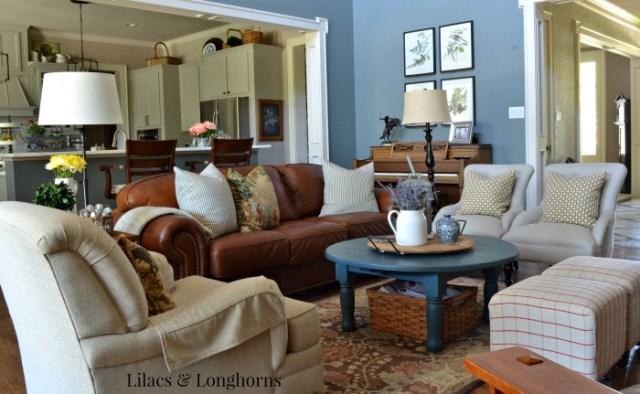Lilacs & Longhorns summer living room