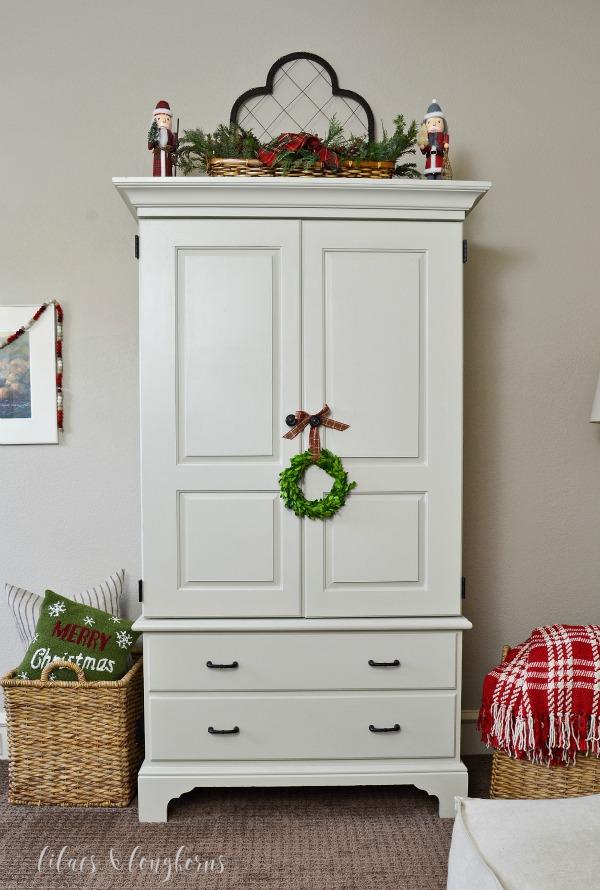 armoire with Christmas decor