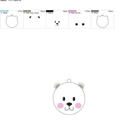 Winter polar bear ornament 4×4