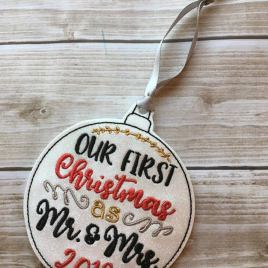 ITH -Our First Christmas as Mr. and Mrs. Ornament 4×4 and 5×7 Grouped