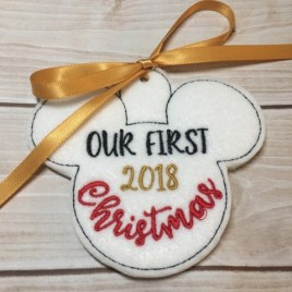 ITH Our First Christmas Mouse 2018 Ornament 4×4 and 5×7 included- Embroidery Design – DIGITAL Embroidery DESIGN
