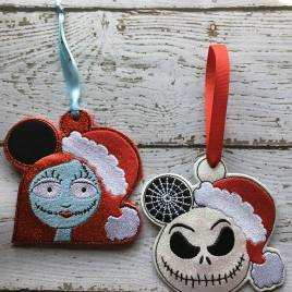 ITH – Jack and Sally Ornaments 4×4