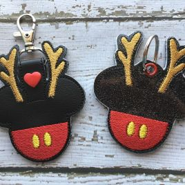 ITH Reindeer Mouse Snap Tab Fob 4×4 and 5×7 included- Embroidery Design – DIGITAL Embroidery DESIGN