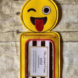 ITH Smiley Sassy face ID holder or Luggage tag 5×7 included- Embroidery Design – DIGITAL Embroidery design