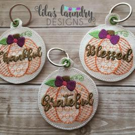 ITH Sketch Thankful, Blessed, Grateful Pumpkin Eyelet Fob 4×4 and 5×7 included- Embroidery Design – DIGITAL Embroidery DESIGN