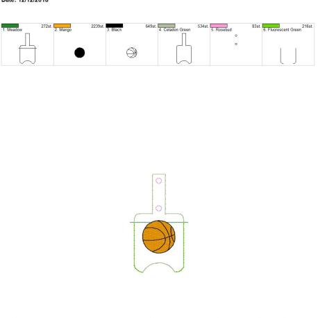 Basketball Sanitizer holder snap tab 5×7
