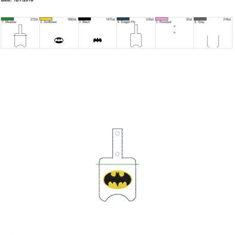 Bat Hero Sanitizer holder snap tab 5×7