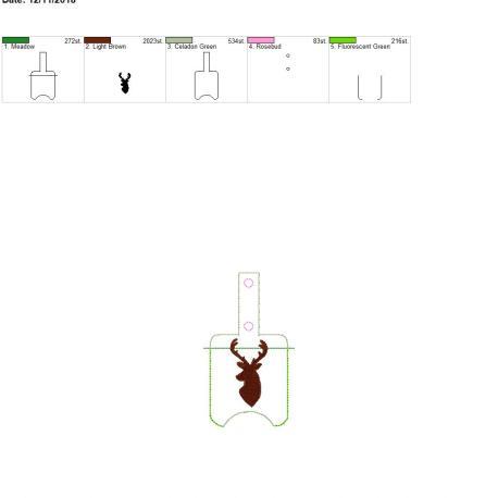Deer Sanitizer Holder snap tab 5×7