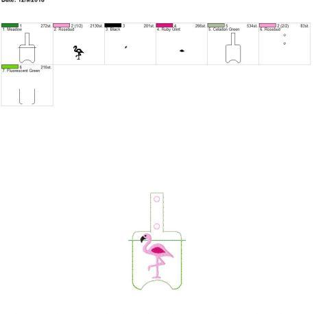 Flamingo Sanitizer holder snap tab 5×7